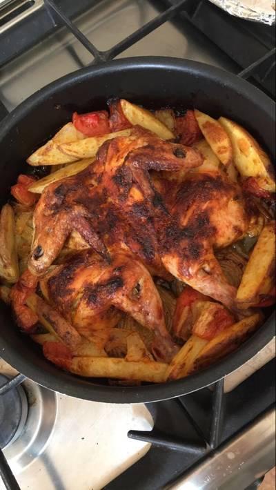 دجاج بالخضارالمشوي