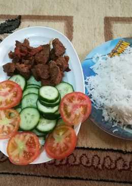لحم مع الأرز والخضار للدايت