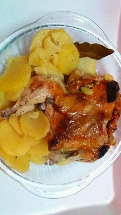 بطاطا مع دجاج بالكيس الحراري