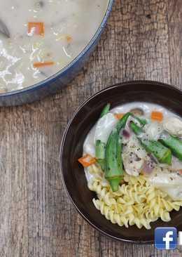 [清冰箱料理]簡易白醬濃湯義大利麵