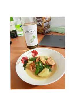 白酒炒蝦+蝦子豆腐湯