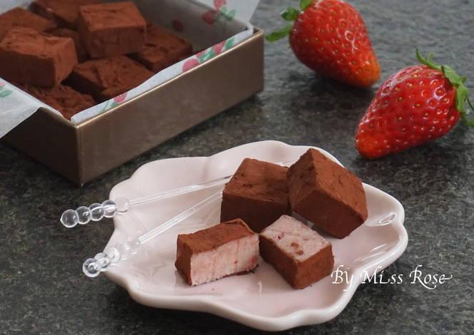 【情人节】草莓生巧克力 | 食谱 | 做法