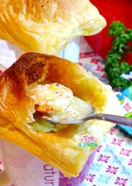 馬克杯酥皮玉米海鮮粥