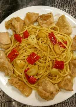 蒜辣雞肉義大利麵