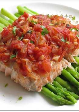 [番茄起司烤鮭魚] 簡單2步驟