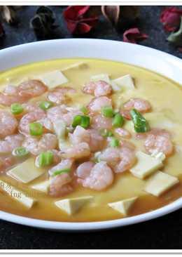 [蝦仁豆腐蒸蛋]簡易快速家常菜