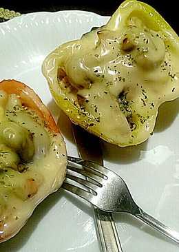 洋蔥磨菇鮪魚焗彩椒