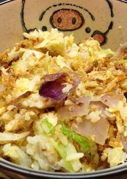 剩飯做的~高麗菜油蔥香蛋米飯【素食便當料理】