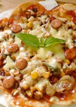 脆皮臘腸玉米披薩(平底鍋版)