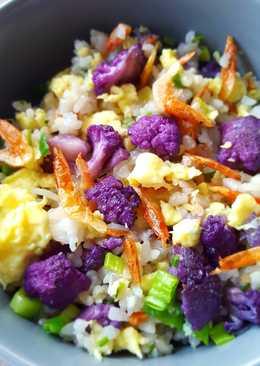 櫻花蝦紫花椰菜蛋炒飯