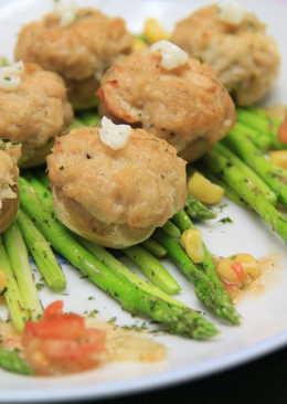 『氣炸鍋食譜』蘆筍蘑菇佐鮪魚沙拉