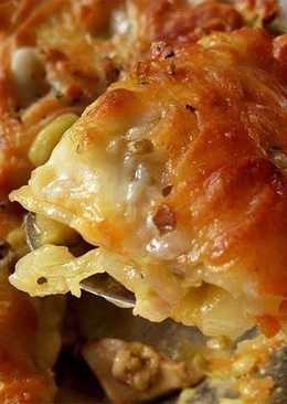 雞肉白菜千層麵。拜拜烤雞+餛飩皮變化料理