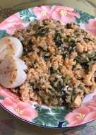 菇菇雞菠菜番茄肉醬燉飯佐干貝