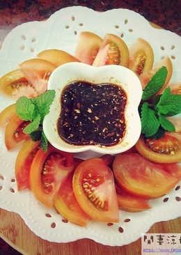 黑柿番茄盤加薑母沾醬