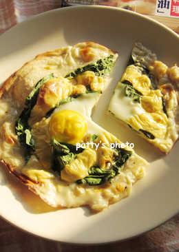 【北海道白醬烤】菠菜烤蛋白醬披薩