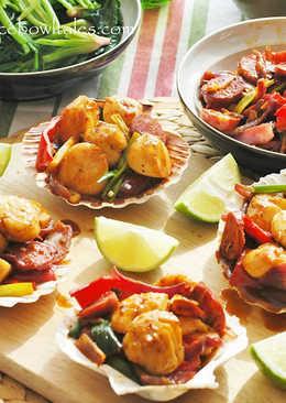 新鮮干貝炒西班牙香腸