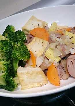 蒜味奶油雞燒豆腐青蔬