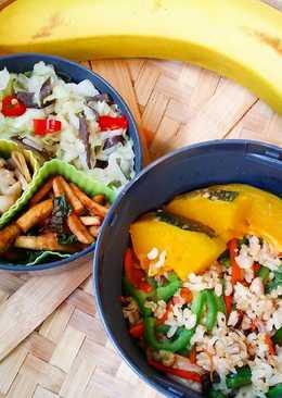 〘素食便當〙青椒杏鮑菇炒飯