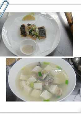 煎魚排+魚骨豆腐薑絲湯