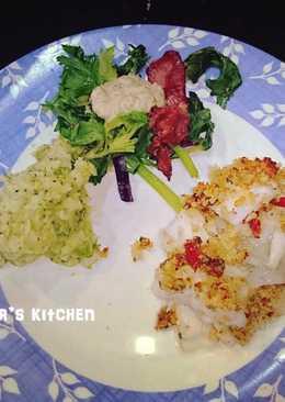 傑米奧利佛的30分鐘料理Grilled cod with pancetta and pea mash 香酥烤鱈魚和培根沙拉跟豌豆泥