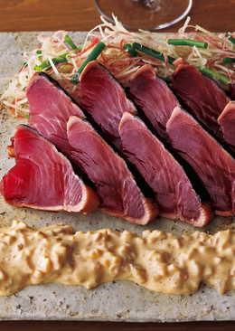 東販小食堂:鰹魚半敲燒佐煙燻蘿蔔美乃滋