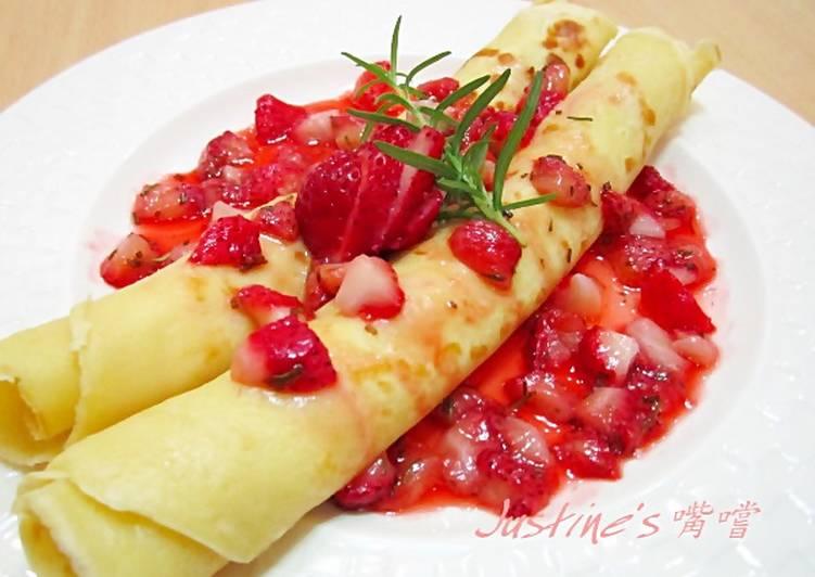 法式可麗餅、白酒迷迭香草莓醬