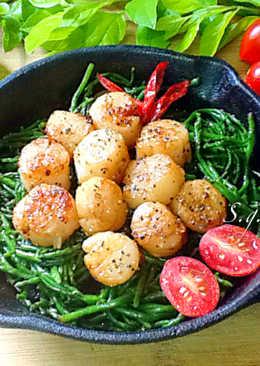 香煎干貝佐海蘆筍