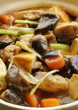 瓦鍋冬菇雞豆腐煲