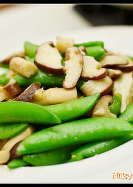 料理 - 豌豆莢炒鮮菇片