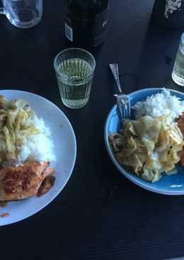 芝加哥男孩之叫我小廚神-迷迭香蒜檸奶油煎鮭魚+炒高麗菜