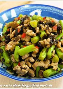 黑木耳乾煸肉末四季豆.柯媽媽の植物燕窩