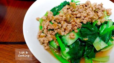 【家常菜】香蔥肉燥拌青江菜