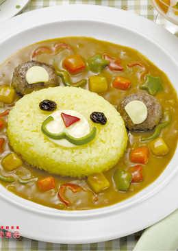 小熊漢堡蕃紅花飯咖哩