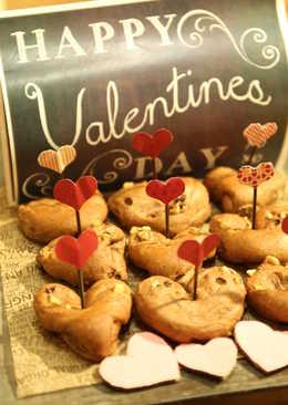 Happy Valentine's Day Chocolate Love Bread-巧克力愛心核桃麵包❤!!!
