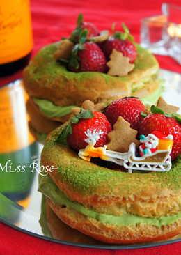 抹茶草莓泡芙圈