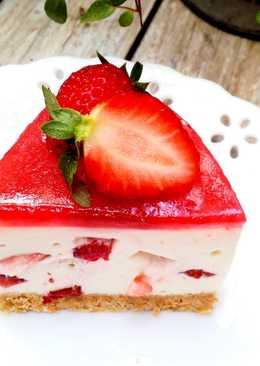 草莓乳酪免烤蛋糕