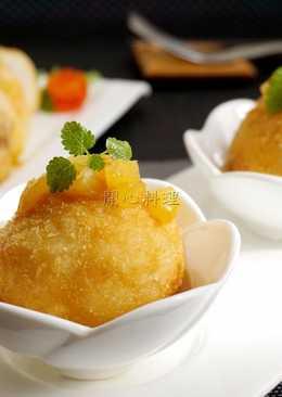 雙味飯糰佐鳳梨咖哩