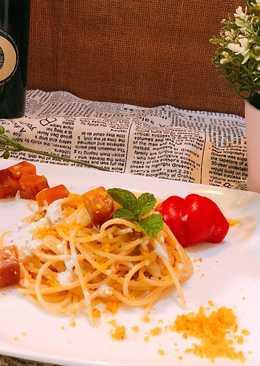 烏魚子奶香(白醬)義大利麵同場加映和牛排佐干貝