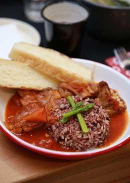 義式茄汁燉雞與三色飯