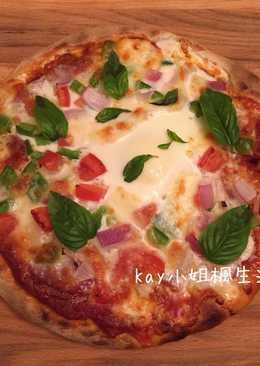 義式薄餅披薩 Roman Crust Pizza (天然酵母版)   如何用美式家庭烤箱烤薄脆披薩