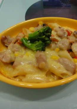 【歡樂親子料理】焗烤海鮮火鍋餃之筆尖麵