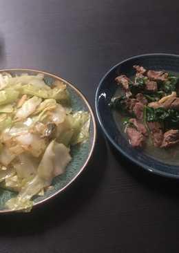 芝加哥男孩之叫我小廚神-奶油蒜香高麗菜+蒜香牛肉菠菜
