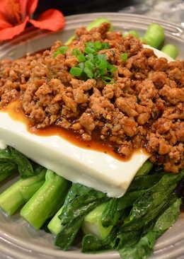 肉碎菜心蒸豆腐