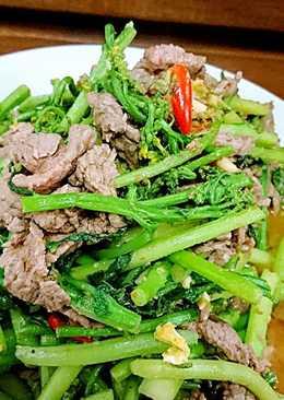 油菜花炒沙茶牛肉