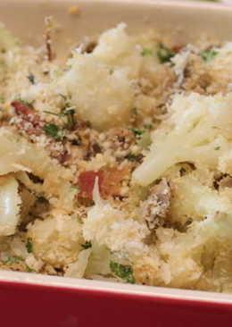 培根蘑菇烤花椰菜