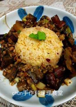 茄肉末黃薑栗子飯