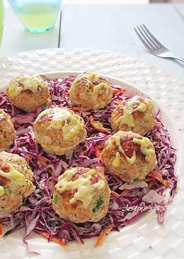 蔬菜豆腐小肉丸沙拉搭橙香沙拉醬