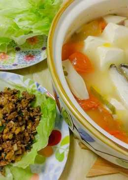 牛鬆生菜包 + 蕃茄三文魚頭豆腐煲