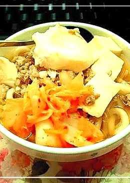 簡易電鍋料理15min 泡菜烏龍麵 忙了一天回到家下廚喝熱湯好療癒😍
