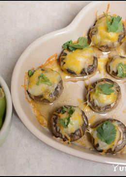 烤蘑菇鑲肉 烤青椒鑲肉